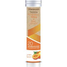 Genecom Terra Vitamin C 1000 mg & Zinc 20 αναβράζοντα δισκία Orange