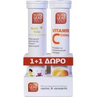 NutraLead Multi+Kids + Vitamin C 550mg Πορτοκάλι 20+ 20αναβράζοντα δισκία