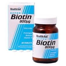 HEALTH AID BIOTIN VITAMIN H 800μg P.R. 30vetabs