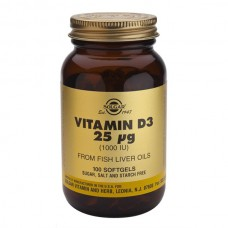 SOLGAR VITAMIN D3 25μg 1000 IU 100SOFTGELS