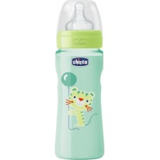 Chicco Well Being Green, Πλαστικό Μπιμπερό, Θηλή Σιλικόνης, 330ml