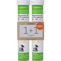 Korres Magnesium & Vitamins B1 B6 C 2 x 12 αναβράζοντα δισκία