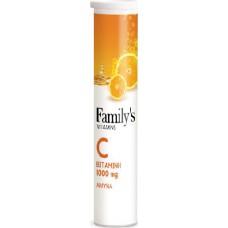 Family's Vitamins Vitamin C 1000mg 20 αναβράζοντα δισκία Πορτοκάλι