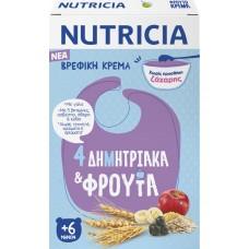 Nutricia Κρέμα 4 Δημητριακά & Φρούτα Χωρίς Προσθήκη Ζάχαρης 225gr