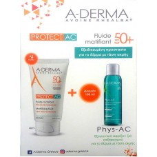 A-Derma Protect AC Fluide Matifiant Tres Haute Protection SPF50+ 40ml & Phys-AC Gel Moussant Purifiant 100ml