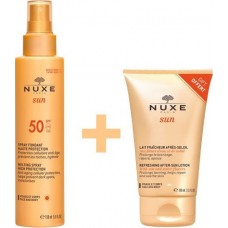 Nuxe Sun Spray Fontant SPF50 150ml & Lait Fraicheur Apres Soleil Visage After Sun Lotion100 ml