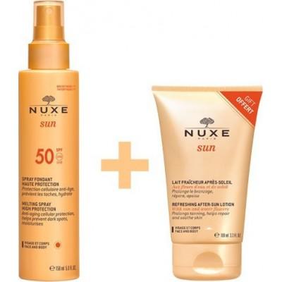 Nuxe Sun Spray Fontant SPF50 150ml & Lait Fraicheur Apres Soleil Visage After Sun Lotion100 ml